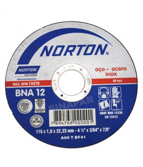 "Disco de Corte - 4.1/2"" x 1,00mm x 7/8"" - Norton BNA12"